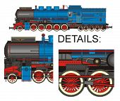 Blue locomotive with all details