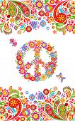 Fashion print with colorful floral summery seamless border and hippie peace flowers symbol for shirt poster
