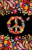 T shirt print on black background with vivid floral decorative seamless border and hippie peace flow poster