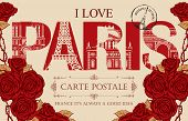 Retro Postcard With Words I Love Paris And Rubber Stamp With Eiffel Tower. Vintage Vector Card With  poster