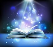 Opened Magic Book Realistic Image With Bright Sparkling Light Rays Illuminating Pages Floating Balls poster