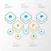 Climate Icons Flat Style Set With Snowy, Rain-snow, Rainy And Other Hailstones Elements. Isolated Ve poster
