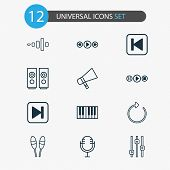 Audio Icons Set With Loudspeakers, Equalizer, Drum Sticks And Other Run Song Back Elements. Isolated poster