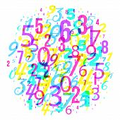 Mathematics Background - Different Numbers In Random Pattern. Colorful School Pattern For Children.  poster