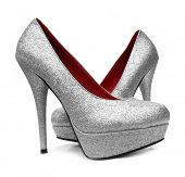 stock photo of cinderella  - Silver high heels pump shoes - JPG
