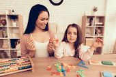 Woman Teaches Girl. Educational Games. Learning Child At Home. Child Development. Board Games For Ch poster