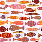 Tropical Colorful Exotic Fish Swarm Seamless Pattern. School Of Fish Background. Kids Beach Vacation poster
