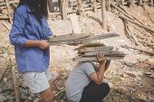 Boys Labor Work In The Construction Site,  Against Child Labor, Poor Children,  Construction Work, V poster