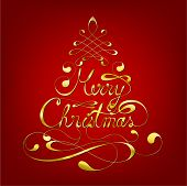 stock photo of merry christmas text  - Elegant Merry Christmas Calligraphic Background - JPG