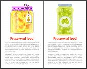 Preserved Food Posters, Pineapple Rings And Olives. Jar Of Fruit Slices Or Spicy Vegetables In Marin poster