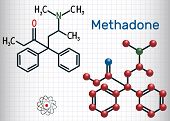 Methadone Molecule. Structural Chemical Formula And Molecule Model. Sheet Of Paper In A Cage.vector  poster