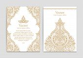 Gold And White Vintage Greeting Card. Luxury Vector Ornament Template. Great For Invitation, Flyer,  poster