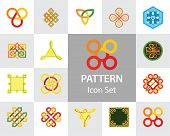 Pattern Icon Set. Hexagon Infinite Traditional Knot Chinese Amulet Round Creative Square Pattern Ete poster