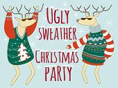 Ugly Sweather Christmas Party Illustration, Christmas Sweater poster