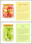 Canned Tomatoes And Cucumbers Posters With Information. Vegetables Conserved With Leaves And Garlic  poster