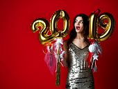 Women Celebrating New Year Party Happy Laughing In Silver Casual Dress With Christmas 2019 Gold Ball poster