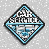 Vector Logo For Car Service, Black Sticker With Set Of Different Auto Parts For Variety Car System,  poster