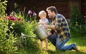 Middle Age Man And His Little Son Watering Flowers In The Garden At Summer Sunny Day. Gardening Acti poster