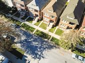 Top View Chicago Townhouses With Detached Garage West Of Downtown poster