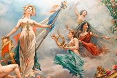 classical french fresco painting showing Marianne with liberty symbol, Cahors theater,France