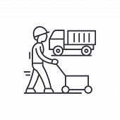Production Cycle Line Icon Concept. Production Cycle Vector Linear Illustration, Symbol, Sign poster