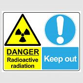 Plate: danger. Radioactive Radiation. Keep Out. Sign: danger. Radioactive Radiation. Keep Out On poster