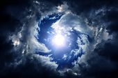 Hole In The Dark And Dramatic Storm Clouds poster