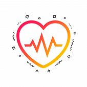 Heartbeat Sign Icon. Cardiogram Symbol. Colorful Geometric Shapes. Gradient Heartbeat Icon Design.   poster