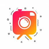 Hipster Photo Camera Sign Icon. Retro Camera On Tripod Symbol. Colorful Geometric Shapes. Gradient P poster