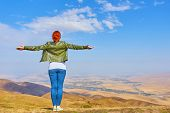 Freedom Concept. Free Beauty Woman Outdoors Enjoying Nature Mountains. Freedom Concept poster