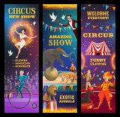 Circus Show, Vector Invitation To Amazing Performance Of Clown, Trained Animals And Magician, Juggle poster