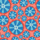 Hippie Flowers. Flower Power Seamless Vector Background. Blue And Red Abstract Flowers On A Pink Bac poster