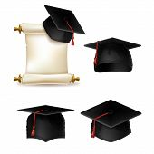 Graduation Cap With Diploma, Official Document Of Education In University Or College. Master Degree  poster