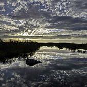 Sunrise On The Volga River. Beauty Sunrise. The Volga River On A Background Of Sunrise. Summer, Earl poster