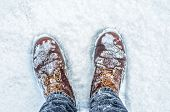 First Person View Of Legs In Brown Boots In The Snow. Snow On Boots While Walking In Winter poster