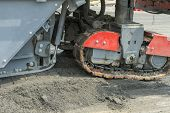 Machinery For Asphalting Roads. Close View On The Workers And The Asphalting Machines. Machinery For poster