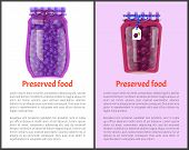 Preserved Food Poster Canned Plums And Blueberries In Glass Jars With Abel. Home Cooking Fruit Conse poster