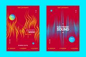 Electronic Music Banner. Techno Sound Flyer Design. Vector Equalizer Concept With Amplitude Of Disto poster