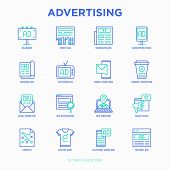 Advertising Thin Line Icons Set: Billboard, Street Ads, Newspaper, Magazine, Product Promotion, Emai poster