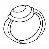 Ring Icon. Vector Illustration Of A Cartoon Ring. Hand Drawn Wedding Ring. poster