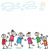 pic of children playing  - cartoon doodle children playing - JPG