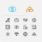 Investment Icons Set. Agriculture Investment And Investment Icons With Financial Management, Gold An poster