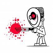 Boy Killer In A Mask With A Shotgun. Vector Illustration poster