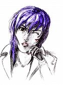 Figure Ballpoint Pen, Emo Goth With A Scratched Face. Nasty Anime Style. poster
