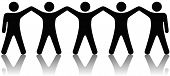 foto of people icon  - A team or group of five people with hands raised celebrate cooperation teamwork victory winning etc - JPG