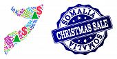 Christmas Sale Combination Of Mosaic Map Of Somalia And Scratched Seal. Vector Blue Watermark With S poster