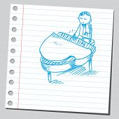 Scribble style illustration of a pianist