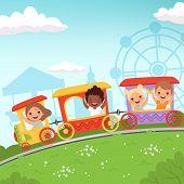 Roller Coaster Kids. Attraction Children Riding In Amusement Park Vector Cartoon Action Background.  poster