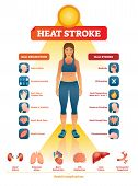 Heat Stroke Vector Illustration. Exhaustion Symptoms Labeled Medical List. Examples With Dizzy Head, poster