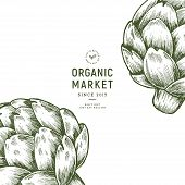Vintage Artichoke Organic Market Design Template. Organic Vegetables. Vector Illustration poster